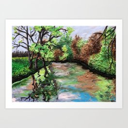 Early Spring - polymer clay painting Art Print