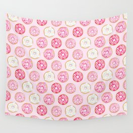 Pink Donuts Pattern on a pink background Wall Tapestry