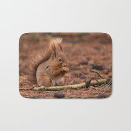 Nature woodland animals Red squirrel by a log Bath Mat