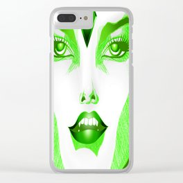 Green eyed Girl Clear iPhone Case