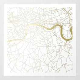 White on Yellow Gold London Street Map Art Print