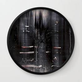 Abstract artwork #5 - Black, white, red waves Wall Clock