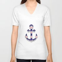 anchors V-neck T-shirts featuring anchors by Manoou