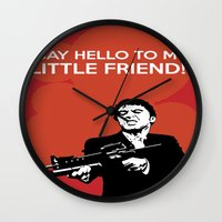 scarface Wall Clocks featuring Scarface Say Hello to My Little Friend by Florian Rodarte