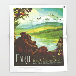 Earth Retro Space Poster Throw Blanket
