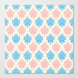 Coral blue ivory vintage chic floral damask pattern Canvas Print