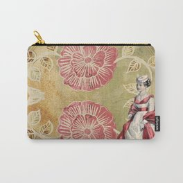 Victorian | Aesthetic | Two Flowers | Lady | Pink | Vintage Carry-All Pouch
