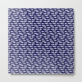 Navy blue maritime sea fishes pattern Metal Print