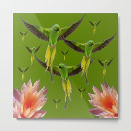 FLOCK OF GREEN FLYING FAIRY BIRDS  & PEACH FLOWERS ART Metal Print