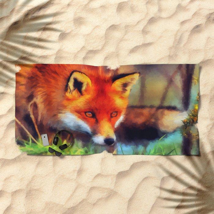 Watercolor Fox Beach Towel