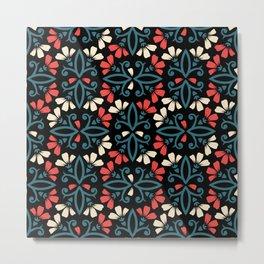 Decorative Floral Pattern 28 - Black, Ming Blue, Flamingo Red, Givry Metal Print