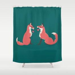 Fox Valentines Shower Curtain