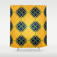 yellow pattern Shower Curtains featuring Yellow by Raluca Ag