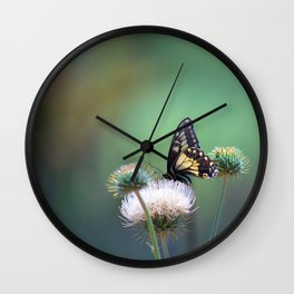 Butterfly Thistle Wall Clock