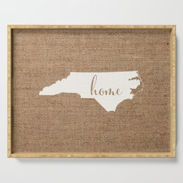 North Carolina is Home - White on Burlap Serving Tray