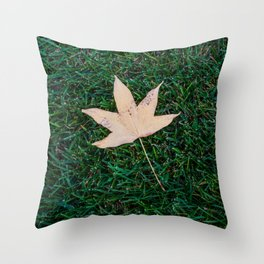 Fall Leaf on Grass Throw Pillow