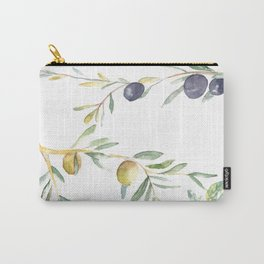 Olive Tree Branches and Black and Green Olives Carry-All Pouch