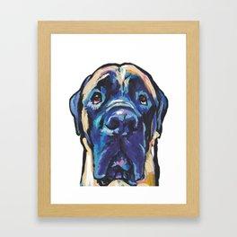 Fun ENGLISH MASTIFF Dog bright colorful Pop Art Painting by LEA Framed Art Print