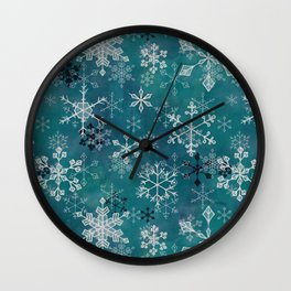 Snowflake Crystals in Turquoise Wall Clock