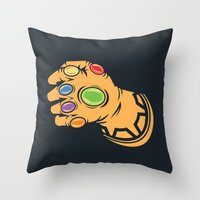 thanos Throw Pillows featuring To Infinity And Beyond! by Remix Comix