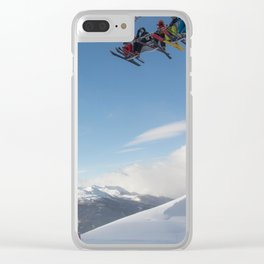 Skiers on chairlift 2 Clear iPhone Case