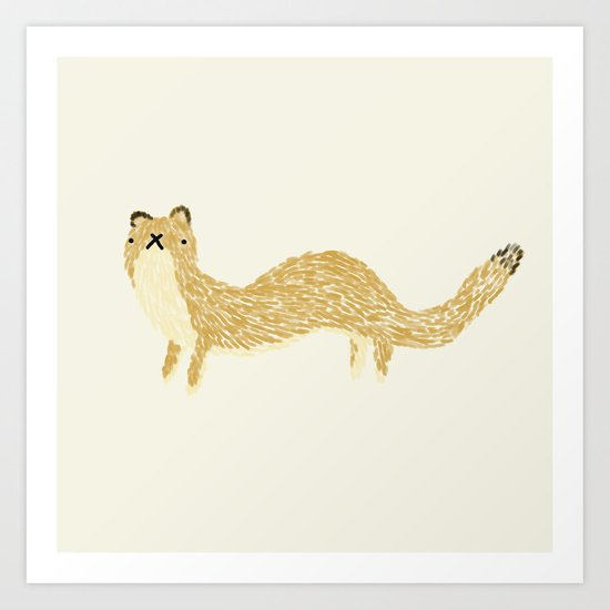 Fluffy Weasel Art Print