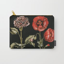 Carnation & Poppy on Charcoal Carry-All Pouch