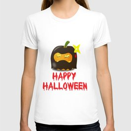 Ninja Shuriken Pumpkin Lantern Costume Spooky Creepy funny T-shirt