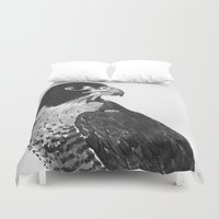 falcon Duvet Covers featuring Peregrine Falcon by waggytailspetportraits