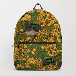 Peonies and wrens Backpack