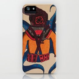 Orange Scuba Diver iPhone Case
