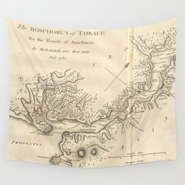 Vintage Map of Istanbul Turkey (1784) Wall Tapestry