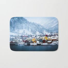 A Small Town in Norwegian Fjords Bath Mat