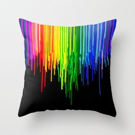 Rainbow Paint Drops on Black Throw Pillow