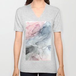Pastel Blush, Grey and Blue Ink Clouds Painting Unisex V-Neck