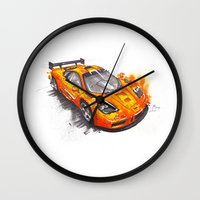 f1 Wall Clocks featuring McLaren F1  by Claeys Jelle Automotive Artwork