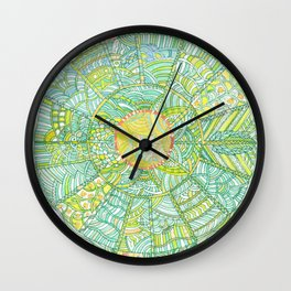 Drawing of Abstract round world with houses Wall Clock