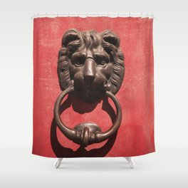 Red Door with Lion head Shower Curtain