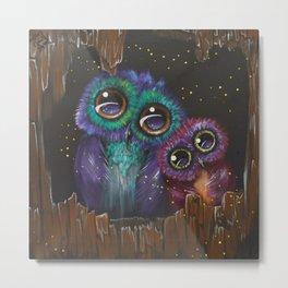 Colorful owl love Metal Print