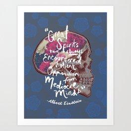 Albert Einstein Skull Quote Art Print