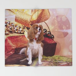 Ribbons, Bells And Cavalier King Charles Spaniel Throw Blanket