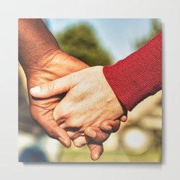 multiracial holding hands Metal Print