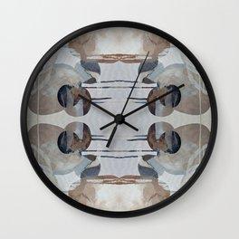 Linen Taupe Grey Shape Overlap Wall Clock