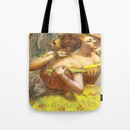 Two Dancers in Yellow by Edgar Degas Tote Bag