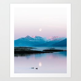 Ducks in front of a moonlit mountain at sunrise – Landscape Photography Art Print