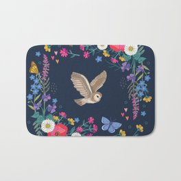 Owl and Wildflowers Bath Mat