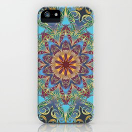 Mandala Lace, Bohemian Indian Flower Pattern, Rainbow, Navy Blue, Teal, Gold, Purple iPhone Case