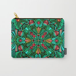 Green red folk inspired bohemian mandala pattern Carry-All Pouch
