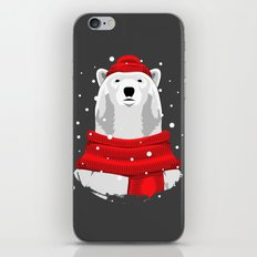Polar beer in red hat and scarf iPhone & iPod Skin