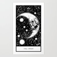tarot Art Prints featuring Moon Tarot by Corinne Elyse